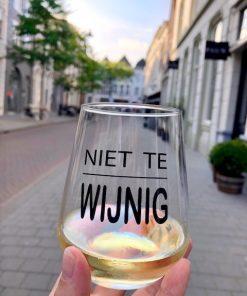 Set van 2 of 4 wijnglazen met tekst Niet Te Wijnig